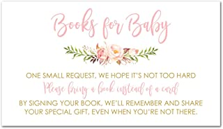 48 cnt Pink Flowers Baby Shower Book Request Cards