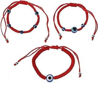 Bracciale KABBALAH Bracciali buddisti tibetano contro malocchio. talismano amuleto Braccialetto filo rosso 7 nodi per la buona fortuna e la protezione