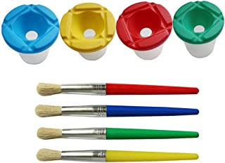 1 Piece Children's No Spill Paint Cups and 4 Pieces Paint Brushes for Kids Drawing Painting Supplies, Random Color