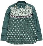 【INTERMEZZO】インターメッツォ 日本製 ニット転写プリント カジュアルシャツ(長袖) 緑 size 4L