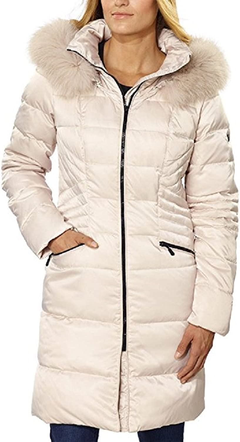 1 Madison Women's Hooded Duck Down Fill Coat,Large, Bone