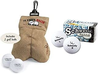JMe MySack Golf Ball Storage Sack Bundled with Pair of Schwetty Golf Balls - Perfect Father's Day Golf Gift or Funny Golf Gag Gift! (2 Items)!