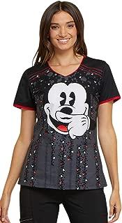 Tooniforms Women's V-Neck Mickey Mouse Print Scrub Top