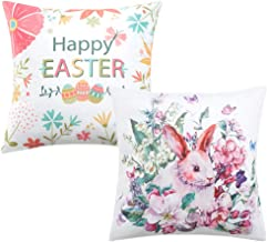 Anickal Easter Home Decorations Set of 2 Decorative Pillow Covers Happy Easter Bunny Throw Pillow Covers Velvet Cushion Covers 18 x 18 Inches