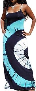 MK988 Womens Sexy Summer Bohemian Print Spaghetti Strap Bodycon Beach Evening Party Maxi Dress