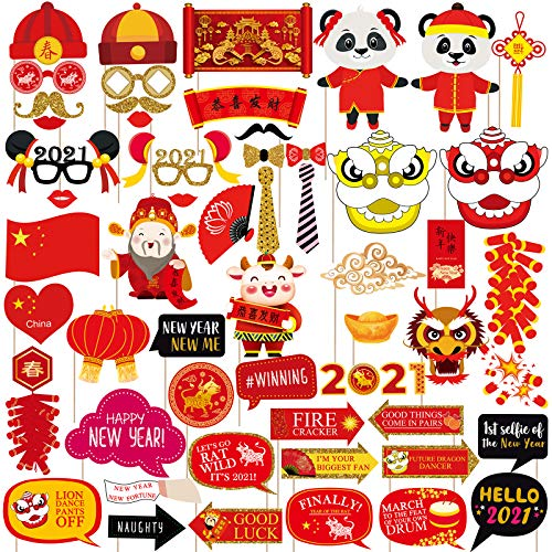 Supla 56 Pack Chinese New Year Photo Booth Props Kit 2021 Year of the Ox Photobooth Props Fun Asian Photo Props for Lunar New Year Spring Festival Birthday Wedding Chinese Party Backdrop Decorations