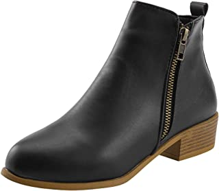 Women Ankle Boots Winter SFE Anti-Slip Pointed Toe Thick Square Heel Outside Zip PU Leather Boots Plus Size