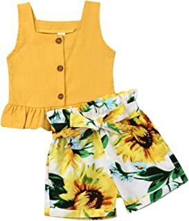 Baby Girls Summer Sunflower Outfits Sleeveless Button Vest Top And Short Clothing Set