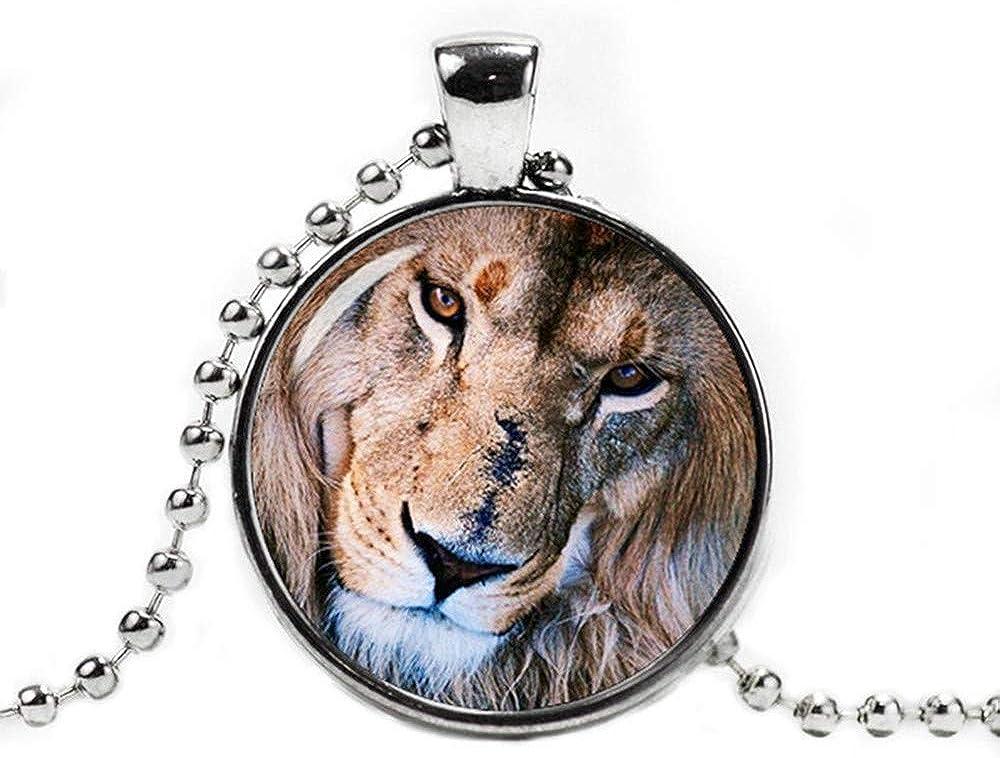 Dandelion Lion Pendant Necklace, with a Ball Chain Lion Jewelry ,Lion Necklace