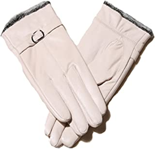 Lustear Ladies' Leather Gloves Winter Warmer Outdoor Driving Ride Glove (Off White)