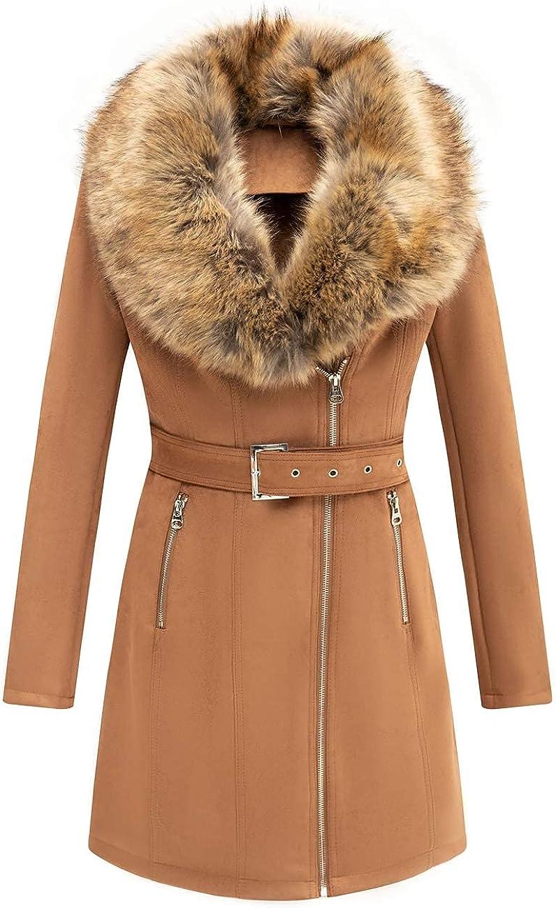 Bellivera Women's Faux Suede Leather Long Jacket, Wonderfully Parka Coat with Detachable Faux Fur Collar