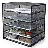 Reliatronic 5-Tier Letter Paper Tray, Mesh Desk File Organizer Letter Size Trays for Desk Accessories, Black