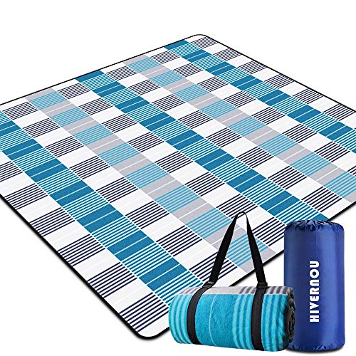 Hivernou Outdoor Picnic Blanket, Waterproof Extra Large Picnic Mat with 3 Layers Material, Portable Outdoor Blanket with Waterproof Backing for Camping Beach Park Family Concerts Firework