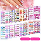16 Sheets Full Wrap Gradient Nail Polish Stickers Self-Adhesive Nail Art Decal Strips Full Cover Nail Art Stickers with 2 Pieces Nail Files for Women Girls DIY Nail Art Decoration (Natural Style)