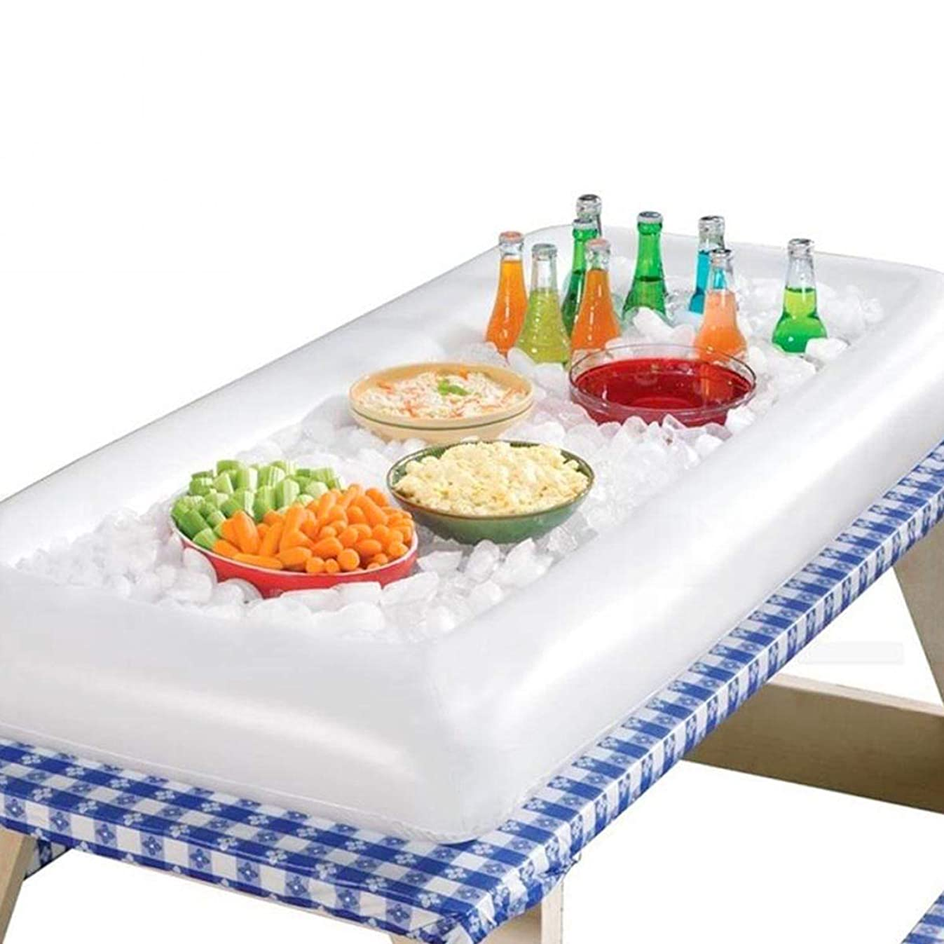 Solar Marine Inflatable Serving/Salad Bar Tray Food Drink Holder - BBQ Picnic Pool Party Buffet Luau Cooler, White, 53