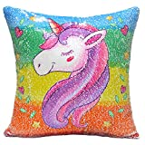 "URSKYTOUS Unicorn Mermaid Pillow Case Decorative Reversible Sequin Pillow Cover Color Changing Cushion Throw Pillowcase 16"" x 16"",Unicorn and Silver"