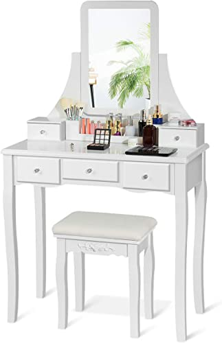 wholesale CHARMAID Vanity Set with 5 Drawers, 2 Dividers, Removable Storage Box, Dressing Table Set with new arrival Square Mirror & Cushioned Stool for Women Girls, Bedroom Bathroom Furniture Makeup Vanity 2021 Set (White) online sale