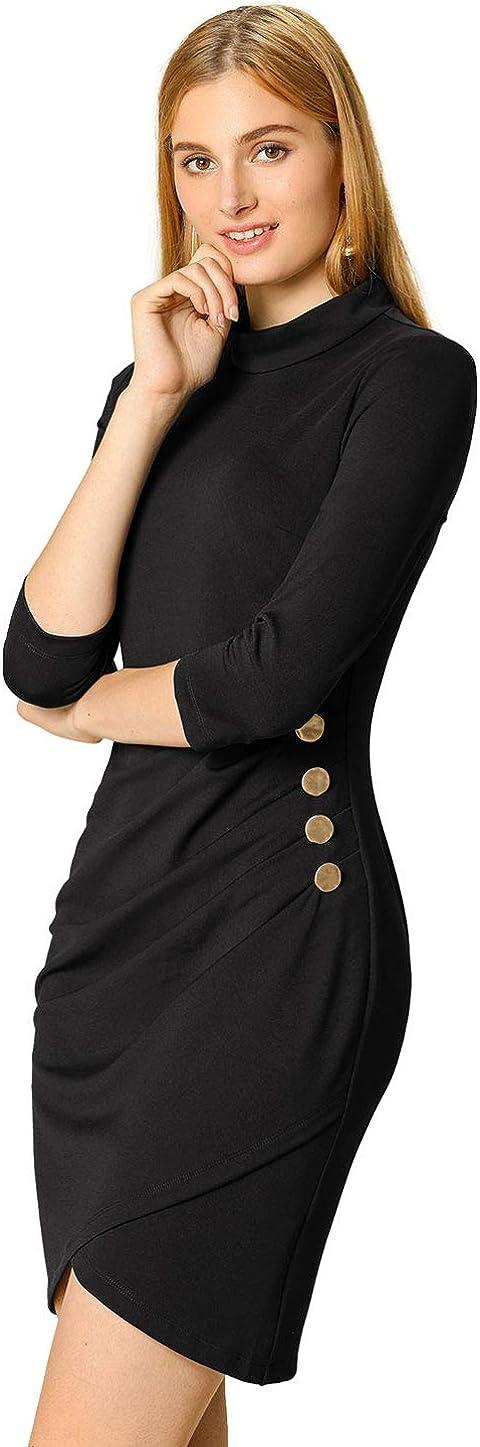 Allegra K Women's Mock Neck 3/4 Sleeve Office Work Bodycon Shirred Stretchy Sheath Dress