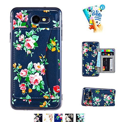 Samsung Galaxy J7 V / J7 2017 / J7 Prime / J7 Perx / J7 Sky Pro / J7 V 2017 Wallet Case,MISSCASE Premium PU Leather Flower Floral Back Folio Flip Wallet Cases Kickstand Card Holder Blue and Red