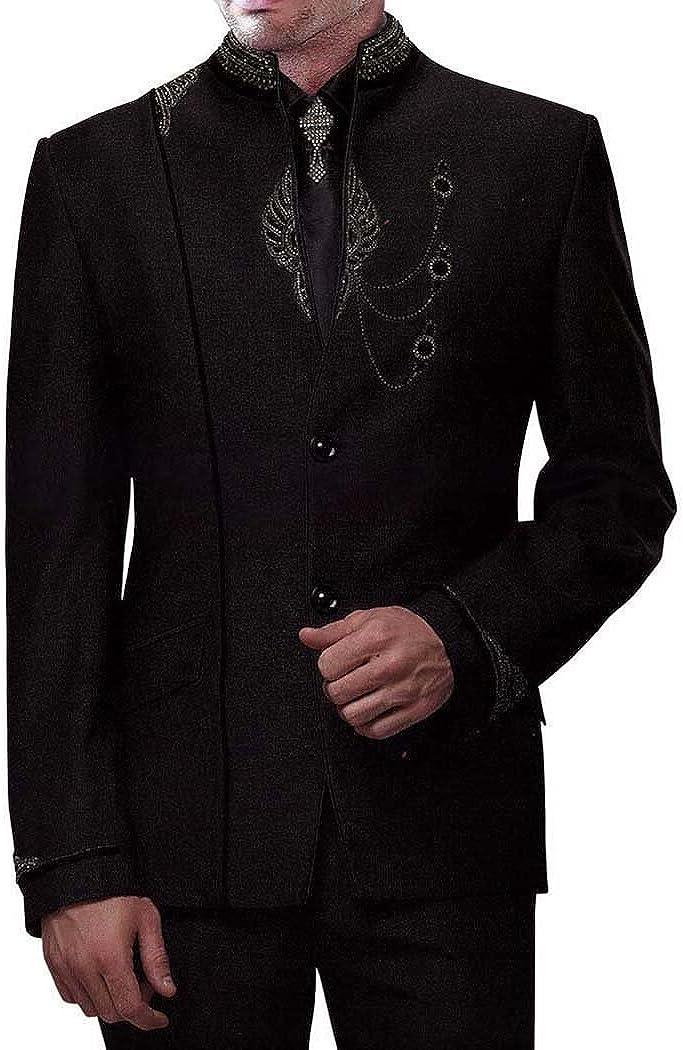 INMONARCH Mens Black 5 pc Jodhpuri Suit Traditional JO0226R54 54 Regular Black
