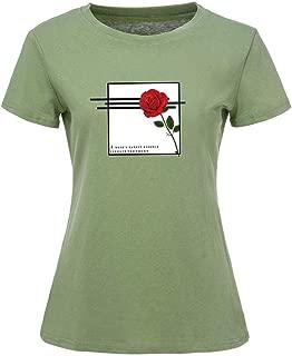 Cathalem Women Casual Loose Tee T-Shirts Tops Cartoon Printed Rolled Hem Ripped Long Sleeve