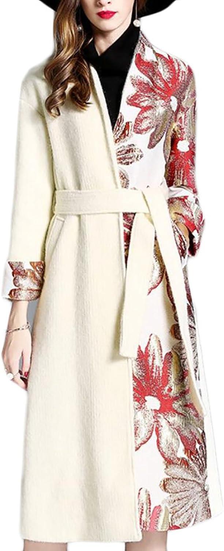 Esast Womens Fashion Elegant LongSleeved Front with Open Belt Print Pea Coat Overcoat