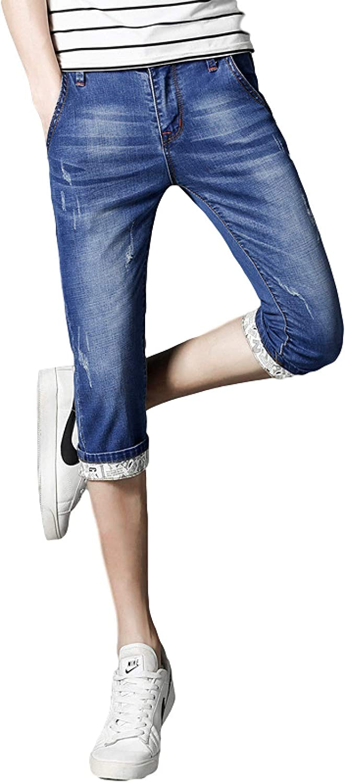 Men's Summer Denim Shorts Simple Ripped Holes Flange Comfortable Stretch Slim