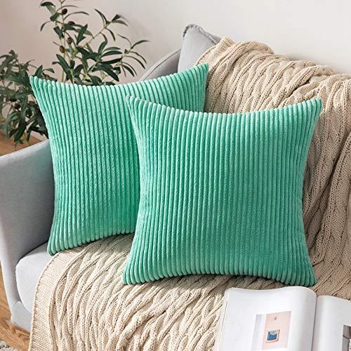 Paquete de 2, Terciopelo Soft Solid Decorativa Cuadrado Juego Fundas de Almohada de Lanzamiento Cojín Caso para sofá Dormitorio Auto 18 * 18 Pulgadas 45 * 45 cm, Verde, 45 x 45 cm