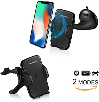 Wireless Car Charger with Fast Wireless Charging car mount for iPhone X, iPhone 8 Plus / 8, Samsung Note8, Galaxy S9 / S9+, Galaxy S8 / S8 Plus, Galaxy S7/S6, S7 Edge/S6 Edge, Note 5, and All QI-Enabled Device