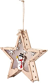OSALADI Christmas LED Wooden Star Ornament Lighted Christmas Tree Toppers Light Up Holiday Hanging Star Christmas Party Fa...