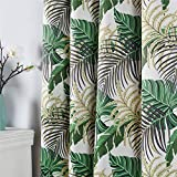 QQHOME Fresh Country Style Printed Design Room Darkening Blackout Curtain Panels Grommet Top, 2 Panels, W52 x L84 inch Tropical Green Leaf Curtains