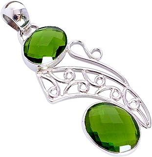 Ravishing Impressions Jewellery Colgante de cuarzo peridoto de plata de ley 925 maciza, joyería de diseño, regalo para ell...
