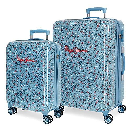 Pepe Jeans AVA Juego de Maletas Azul 55/68 cms ABS Cierre TSA 104 L 7,4 kgs 4 Ruedas Dobles Equipaje de Mano