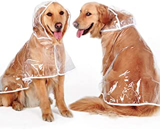 Heboom Transparent Dog Raincoat with Hood Waterproof Windproof Dogs Rain Poncho Clothes for Medium Large Breed Pets
