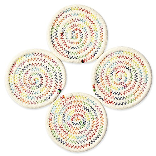 Coasters Set, Pure Cotton Thread Weave Round Drink Hot Pads Mats Coasters Set of 4 by 4.3 Inches Protect Furniture From Excess Condensation & Scratch (Rainbow)