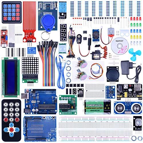 Quimat Project Ultimate Starter Kit kompatibel mit ArduinoIDE, Entwicklungsboard, Erweiterungsboard, LCD1602, HC-SR501, Ultraschall-Sensor-Modul mit Halterung und Tutorial (69 Teile) QK27