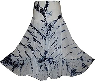 Agan Traders Women's Boho Gypsy Convertible Knit Waist Band Cotton Tie Dye Balloon Ripple Long Maxi Skirt