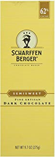 Scharffen Berger Semisweet 62% Cacao Baking Chocolate Bar 9.7-Ounce(Pack of 6)