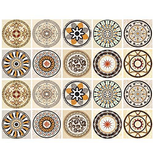 un brand Lvjkes Vinilo Decorativo Mosaico, 20 Piezas Azulejo Pegatinas, Etiquetas Autoadhesivas para Azulejos, Impermeable Adhesivo para Azulejos Florales para Baño Cocina Mueble 10x10cm