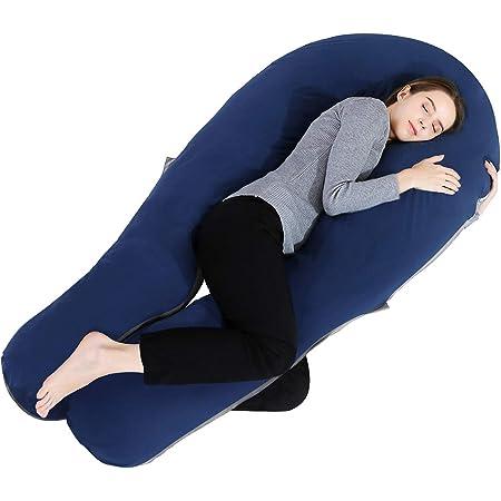 抱き枕 抱きまくら 足枕 クッション 背もたれ 妊婦 妊娠 授乳 男女兼用 U型 ジャージー生地 洗えるカバー ブルー&グレー