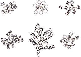 comprar comparacion Lurrose 60pcs Surtido Patrón de Pelo Brazalete de Pelo de Aluminio Trenzado de Perlas Rastas Accesorios Conjuntos