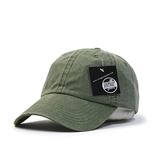 Vintage Year Plain Washed Cotton Adjustable 6 Panel Dad Hat Baseball Cap