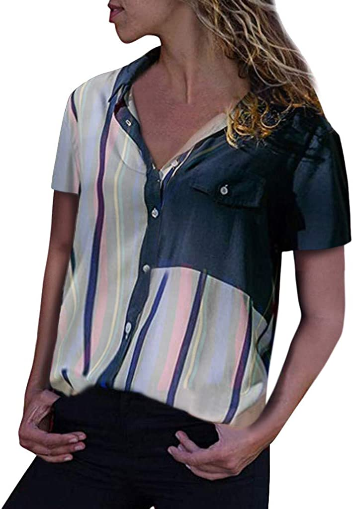 TOTOD Blouse for Women Fashion Color Striped S Max 82% OFF Cuffed Limited Special Price Tops Block