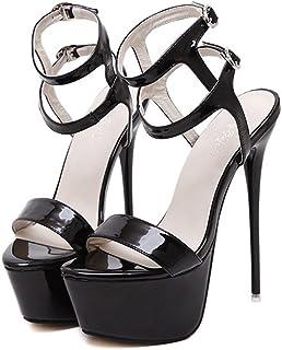 b4239278dd6215 YOGLY Femme Escarpins Bride Cheville Sexy Talon Aiguille Plateforme Epais  Chaussures High Heels Club Soiree