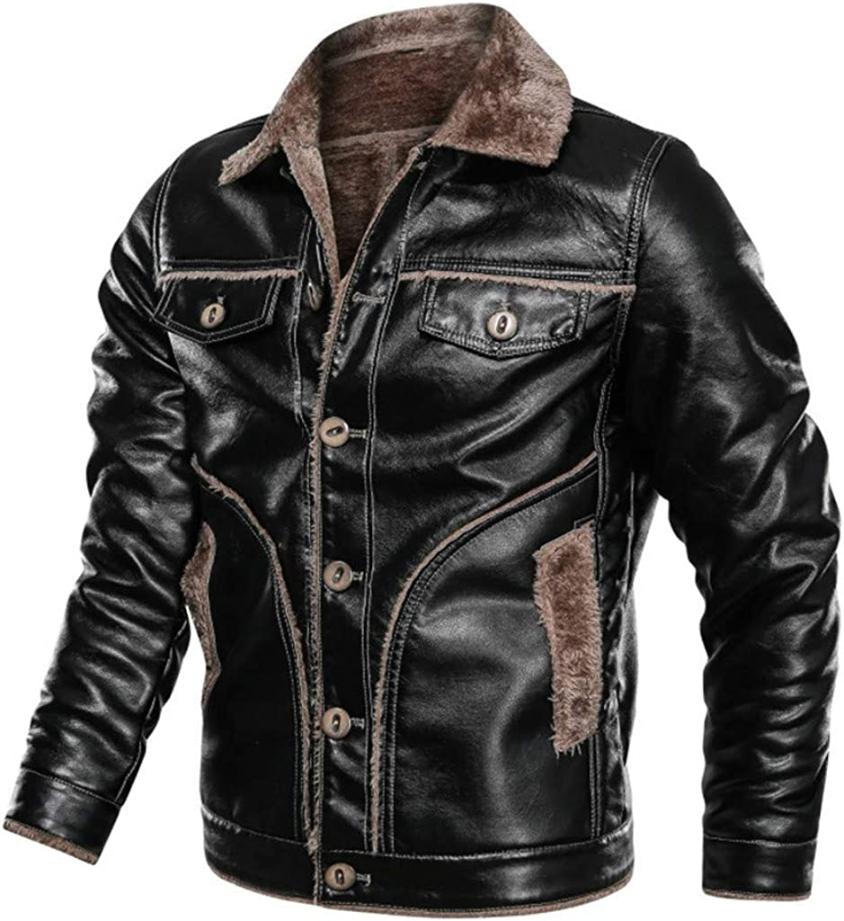 Leather Coats for Men, F_Gotal Mens Autumn Winter Fur Shearling Vintage Button Down Leather Jacket Coat Pea Coat Outwear