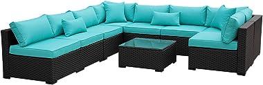 Outdoor Rattan Sectional Sofa - Patio PE Wicker Conversation Furniture Set (9-Piece,Turquoise)