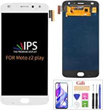 Compatible with Moto Z2 Play LCD Display Screen Replacement,for Motorola Z2 Play XT1710-01 XT1710-02 XT1710-06 XT1710-07 Display LCD Panel Repair Parts Kit,with Tempered Glass+Tools+White