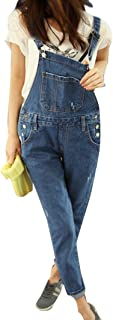 Qitun Mujer Petos Vaqueros Overalls Denim Jeans Vaqueros Pantalones Mono Vaquero Pantalones con Bolsillo en el Cadera