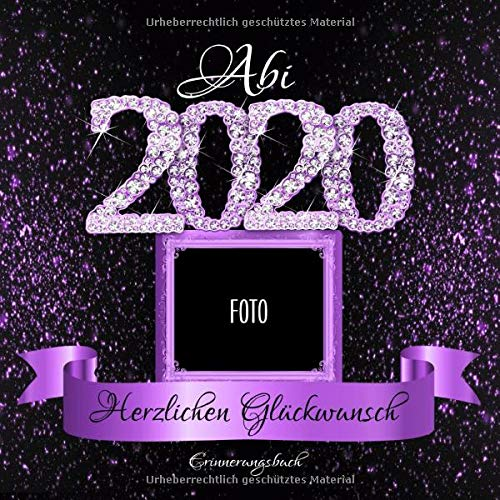 Abi 2020: Personalisiertes Gästebuch I Festliches Schwarz Lila Diamant Cover mit Fotorahmen I...