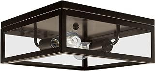 Globe Electric 65748 Memphis 2-Light Flush Mount Ceiling Light, Dark Bronze, 4 Clear Glass Panes